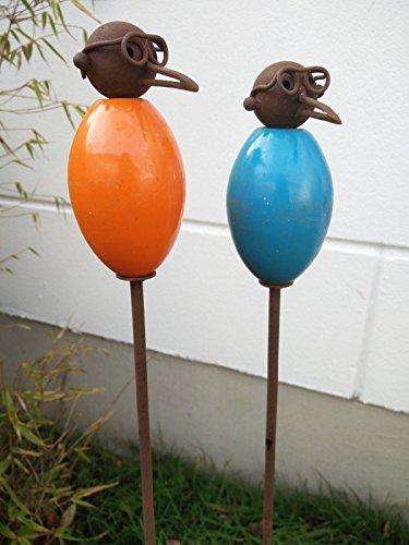 Garteninspiration 2 Blumenstecker mit Vogelmotiv und Brille in Orange und Blau Handarbeit