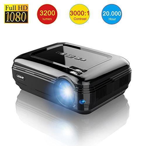 LESHP Proyector Cine en Casa LCD Full HD 3200 Lúmenes 1080P, Proyector Portátil LED Home Cinema Soporte / USB / HDMI / VGA / AV / TV para Peliculas, Videojuegos etc.
