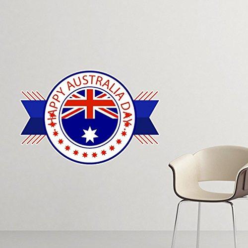 n Flavor Happy Australia Day Flag Emblem Illustration entfernbarer Wand-Aufkleber-Kunst-Abziehbilder Wand-DIY Tapete für Zimmer Aufkleber 80cm ()