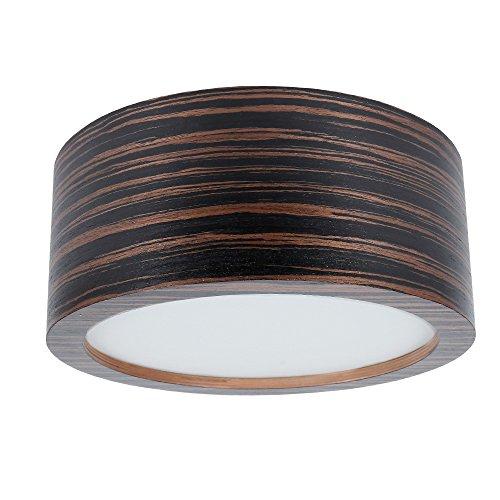Deckenleuchte Holz Zebrano dunkel Ø 35cm | Holzleuchte LED 2x6W | Deckenlampe E27 230V | Holzlampe inkl. 2x LED-Leuchtmittel 660lm extra warmweiß 2700K | Leuchte mit furnierter Holzoberfläche -