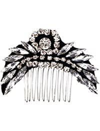 STUDIO ACCESSORIES Black and Silver Crystal Embellished Partywear Hair Comb Hairclip for women and girls