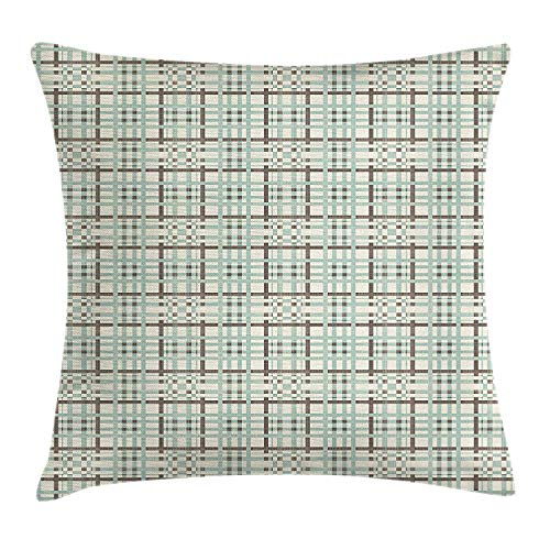 KAKICSA Retro Throw Pillow Cushion Cover, Geometric Stripes in Argyle Pattern Abstract Composition of Lines Design, Decorative Square Accent Pillow Case, 18 X 18 inches, Seafoam Beige Brown Argyle Stripe Tie