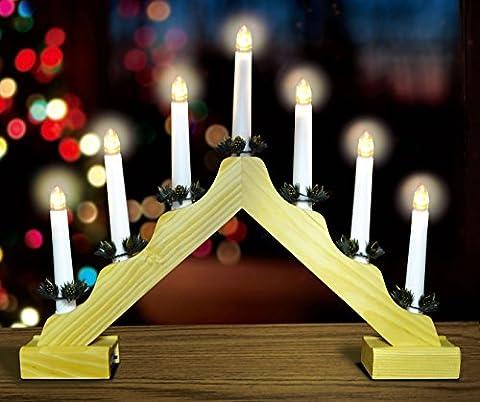 Pont de Noël de bougie en bois avec chaudes lumières LED Blanc - Battery Operated