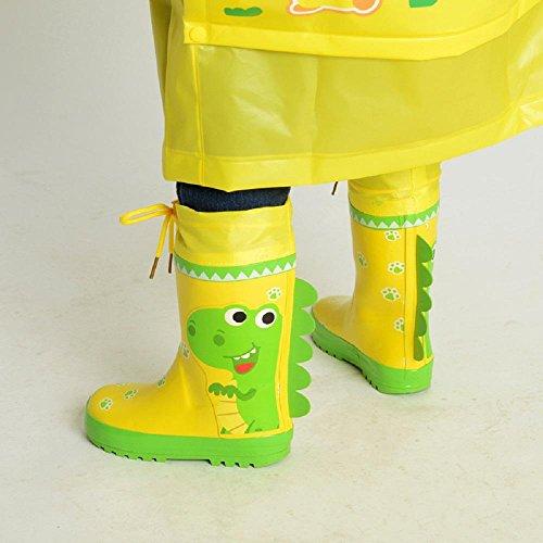 À l'extérieur Enfants Pluie Chaussures Dessin animé Dinosaures Lapin Anti-dérapant Pluie Bottes yellow