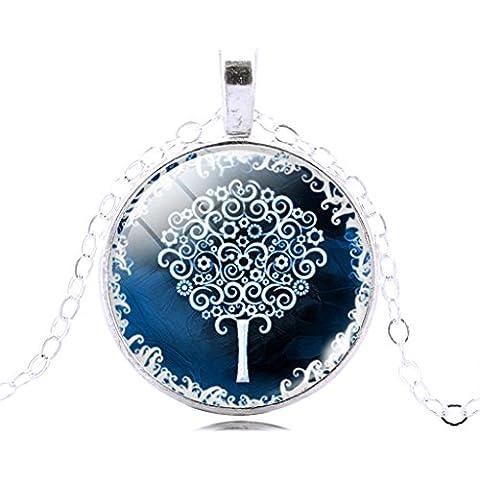Jiayiqi Plata Árbol De La Vida Patrón Tiempo Joya Colgante Cadena Collar De Encanto Para Las Mujeres