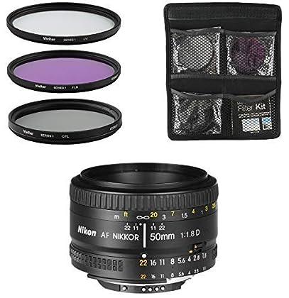 Nikon Objetivo - AF FX Nikkor 50mm f/1.8D - Lente para Cámara Réflex Digital + Juego de Filtros de 3 Piezas UV, CPL, FLD - Negro