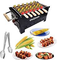 Chefman Portable Picnic Charcoal Barbeque Grill with 6 Skewers, 1Grill, 1 Glove & 1