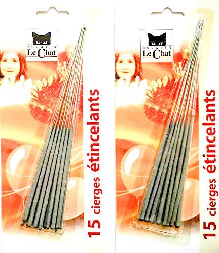 15 glitzernde Kerzen, 1 kaufen, Länge 17 cm, Nutzlänge 8 cm, Dauer 45 Sek.
