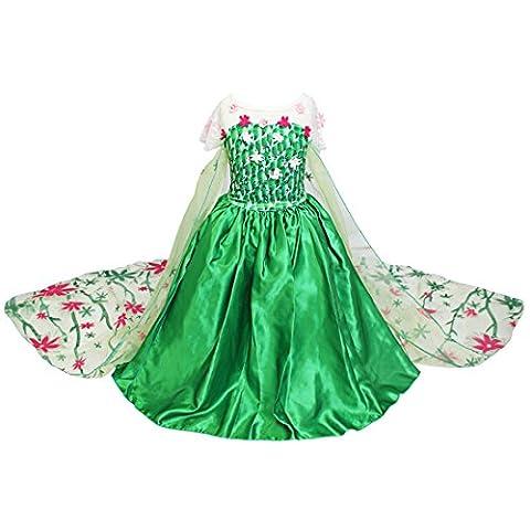 iEFiEL Costume Déguisement Classique Enfant Filles Princesse Robe avec Cape (3-4 Ans, Vert)
