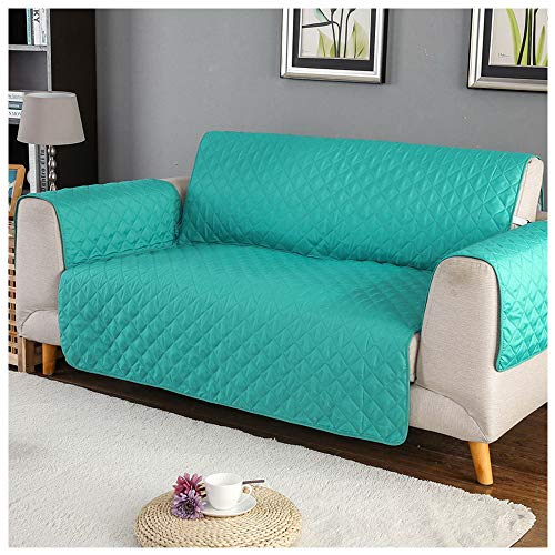 laamei Covers for 3 Sofa Squares with Anti-Slip Armrests Protector for Sofas Furniture Padded against Pets, Dust and Spots (3 Squares, Turquoise)