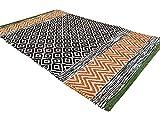 Second Nature ONLINE-Grün Rand kleinen Fair Trade Geometrische orange bunten Teppich 60cm x 90cm