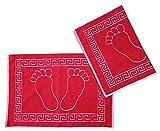 2 Stück Badvorleger 70 x 50cm, rot, Duschvorleger, Fußmatte 100% Baumwolle