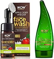 WOW Organic Apple Cider Vinegar Foaming Face Wash with Built-In Brush - No Parabens, Sulphate and Si & WOW Aloe Vera Multipu