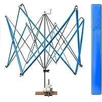 Seawhisper Devanadora de hilo Rápido Paraguas Máquina para enrollar la madeja Operado a mano Bobinadora Titular Yarn Winder, Azul