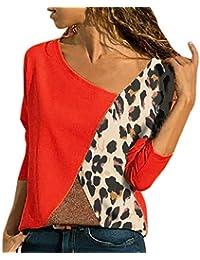 6da58d7446745c Kobay Womens Tops, Ladies' Long Sleeve Splicing Color Leopard Print Casual  Shirt Easy Blouse