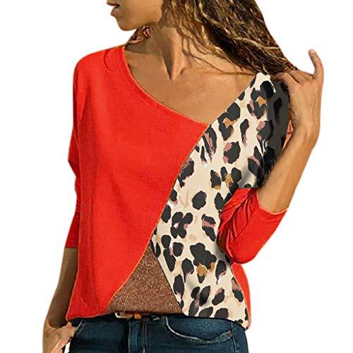 Lazzboy Damen Casual Patchwork Farbblock Kurzarm T-Shirt Sommer Mode Asymmetrischer V-Ausschnitt Oberteile(Rot-C,XL)