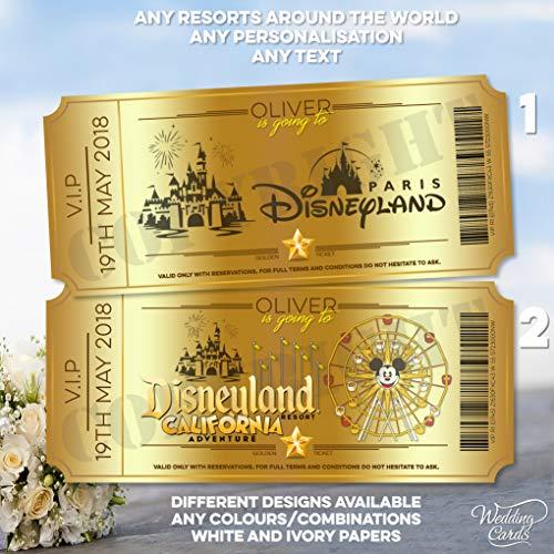 Hochzeitskarten, personalisierbar, Motiv: Walt Disney California Adventure World Florida Orlando Disneyland Paris Land Trip Reveal Ticket Karte Geldbörse Überraschung Ankündigung Geschenk
