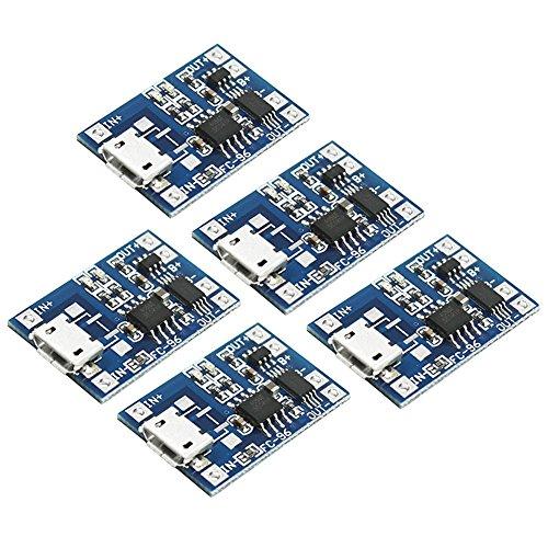 E 1 Batterie (IZOKEE 5 Stück 1A 5V Micro USB TP4056 Lademodul Lithium-Batterie Modul mit Schutz (TP4056 mit Schutz))