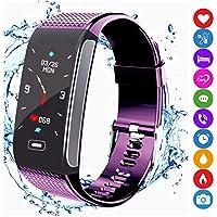 Fitness Tracker Smart Armband Sportuhr Aktivitätstracker Schrittzähler mit IP67 Wasserdichte Farbanzeige Pulsmesser Monitor SMS SNS Anruf Erinnern Kompatibel mit Android IOS für Männer Frauen Kinder