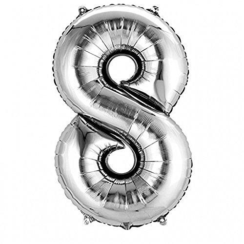 SiDeSo® 1 Folienballon XXL SILBER Heliumgeeignet Party Geburtstag Jahrestag Hochzeitstag Jubiläum Zahlenluftballon Luftballon Zahl (Zahl 8)