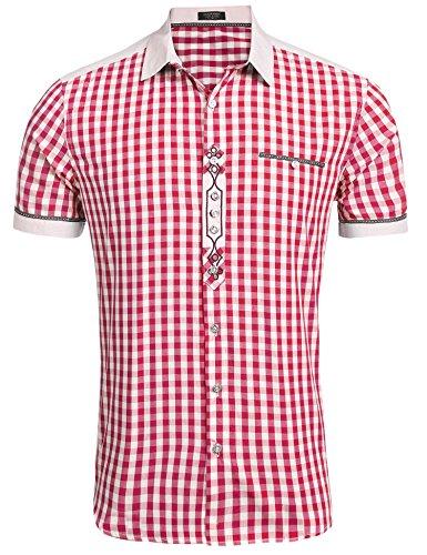Burlady Trachtenhemd Herren Hemd Kariert Oktoberfest Cargohemd Baumwolle Freizeit Hemden Super Qualität- Gr. M, Kurz-Rot