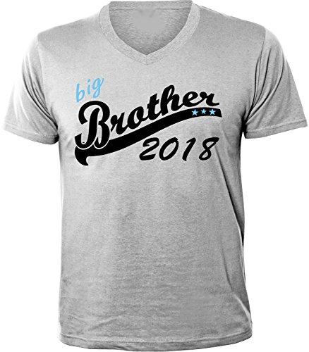 Mister Merchandise Herren Men V-Ausschnitt T-Shirt Big Brother 2018 Tee Shirt Neck bedruckt Grau