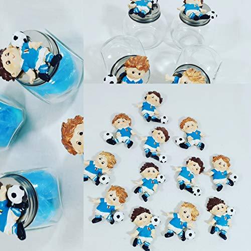 Sindy bomboniere portaconfetti comunione, cresima calcio calciatore magnete con varie possibilità di acquisto (1 vasetto con velo+confetti+magnete)