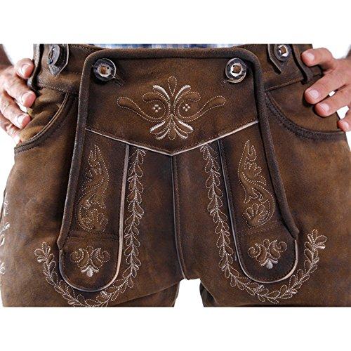 ALMBOCK Lederhose Herren Tracht Kniebund | Lederhose Herren braun aus feinem und antikem Nubukleder | Trachtenhose alt Herren - Trachtenlederhose 52 - 4
