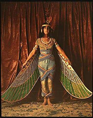 POSTER A3 Dancer wearing Egyptian-look costume with wings reaching to the floor