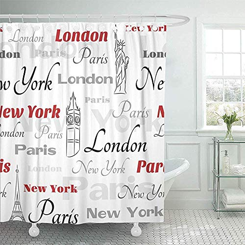 York City-light - (LINGJIE Duschvorhang Red Word Light with Symbols of Popular Cities York London Paris City Shower Curtains Sets with Hooks Waterproof Polyester Fabric)
