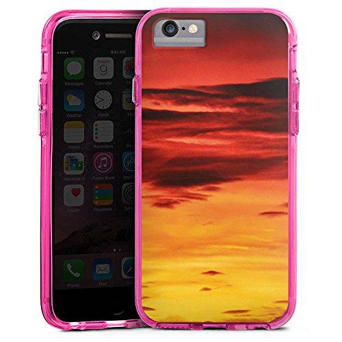 Apple iPhone X Bumper Hülle Bumper Case Glitzer Hülle Abendrot Wolken Sonnenuntergang Bumper Case transparent pink