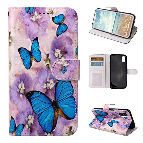Custodia Moda Per iPhone X, Asnlove PU Pelle Caso Funzione Portafoglio Cover Motif di Colore Cassa Flip Libro Case Bumper Antiurto Protezione Completa Shell Per iPhone X - Colore 5 Colore-1