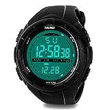 Orologio digitale da uomo, militare orologi sportivi Outdoor elettronico LED orologio allarme luminoso cronometro impermeabile esercito orologi–nero