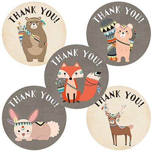 Adorebynat Party Decorations - EU Stammes Waldwald Tiere danken Ihnen Aufkleber Aufkleber - Geburtstags-Baby-Partei-Dusche - Set 50 (Ihnen Danken Braut-dusche)
