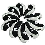 FLTRAD Lot de 10 Housses de Protection Têtes de Clubs de Golf Fer 3-9A/SW/PW Élastique Matériau Néoprène durable avec Numéro de Référence pour Cadeau Choix de 6Couleurs, Noir/blanc