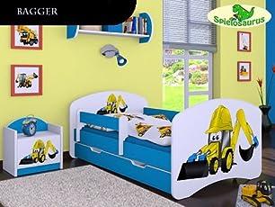 Kinderbett Bagger, viele Farben, verschiedene Größen mit Schublade, HB Primea