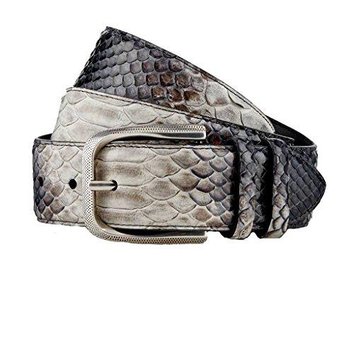 GUT INSTINKT - Cinturón de piel de serpiente real de cuero italiano de lujo artesanal - BAZIGAR (Gris 80cm)
