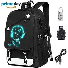 BEST DEAL Fluoreszierende Schulrucksäcke Jungen Mädchen Kinderrucksack Schulrucksack Laptop Jungs Rucksack mit USB Kabel und Zahlenschoss