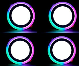 9W (6+3) LED Side RGB(Red,Green,Blue) Round Ceiling POP Panel Light 3D Effect Lighting (Double Color) Pack of 4