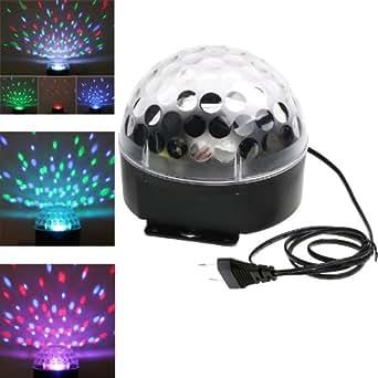 Andoer 220V LED RGB boule magique de cristal, inductive de voix pour l'illumination de scène dans les discothèques (EU Prise)