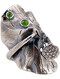 Anillo de hoja de loto largo plata de ley 925 con jade verde natural para mujeres