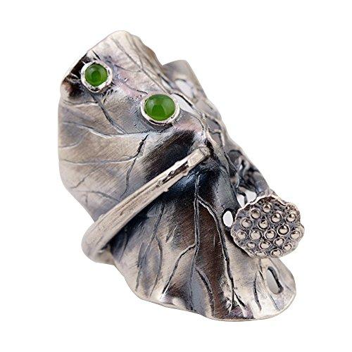Damen Verstellbar 990 Sterling Silber Lotus Leaf Ring mit Natürlich Grün Stein