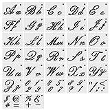 Lettre de gabarit pour la peinture sur bois,modèle lavable réutilisable avec calligraphie de 32 PCS,alphabets de lettres majuscules et minuscules,chiffres et signes,idéal pour les projets d'artisanat...