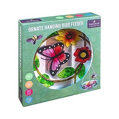 GardenKraft 24700 Decorated Glass Hanging Bird Bath/Feeder by Benross Group