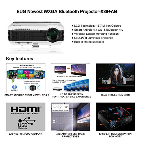 For Sale Bluetooth Video Projector Wireless HD Android Outdoor Theater Projector 4500 Lumen Wifi iPad Projector LCD Image 200″ Support 1080P Airplay for Home Theater Gaming Laptop Blu Ray Player