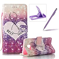 For Samsung Galaxy A3 2016 Case,For Samsung Galaxy A3 2016 Strap Cover,Herzzer Stylish Luxury 3D Special Effects [Best Friends Pattern] Book Style Premium PU Leather Wallet Deisgn with Card Holder Slots Magnetic Closure Smart Stand with Inner Soft Rubber