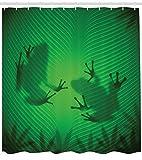 Abakuhaus Duschvorhang, Frosch Schatten Schattenbild auf die Bananen Baumblättern Tropisch Dschungel Licht Spiel Grafik, Blickdicht aus Stoff mit 12 Ringen Waschbar Langhaltig Hochwertig, 175 X 200 cm