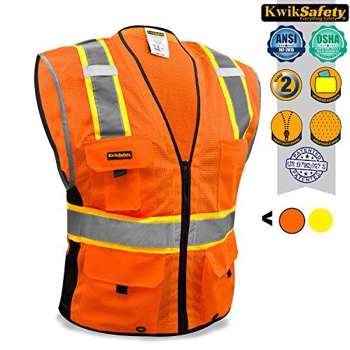 KwikSafety Orange Class 2Deluxe Sicherheitsweste | strapatzierfähige reflektierende Sicherheitsweste mit Reisverschluss und Taschen für Herren und Damen | Motorrad-, Polizei-, Radfahre-, Konstruktions-Arbeitsaustattung, orange (Hoodie Arc)