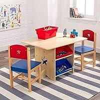 Juego de mesa y silla infantil con diseño de estrella de madera, juego de mesa y 2 sillas con 4 cajas de almacenamiento. Star Design