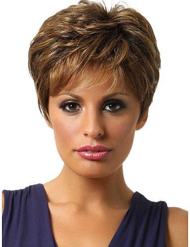 Perruque & xzl Perruques Fashion sans colle bouclés perruque de cheveux courts de femmes à la mode pour les afro-américaine